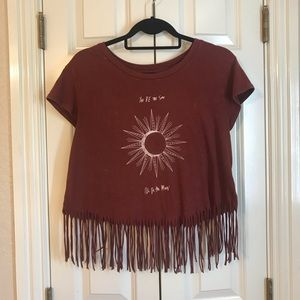 American Eagle crop t-shirt with fringe